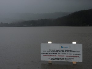 Lake Baroon in flood - southern boat ramp